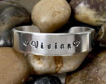 Cuff Bracelet Personalized - Hand Stamped Bracelet - Custom Metal Cuff - Bangle Bracelet Personalized