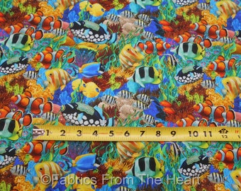 Coral Reef Tropical Fish Packed Ocean Seas BY YARDS Northcott Digital Print Cotton Fabric