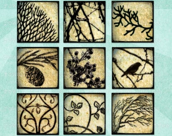 Digital Collage Sheet TREES & BRANCHES 1in Squares Printable Download - no. 0099