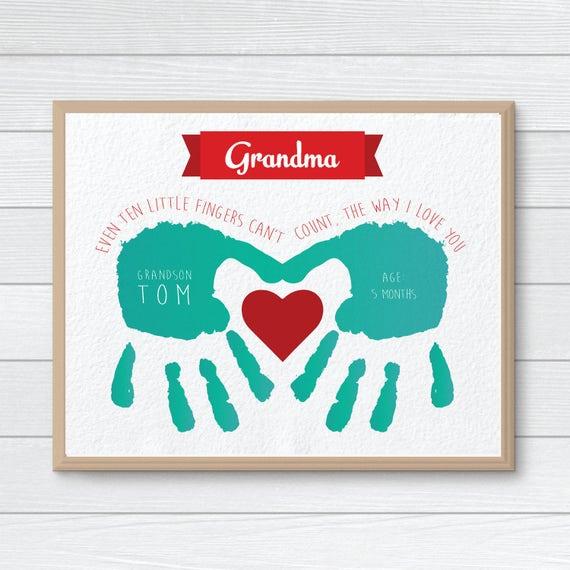 Personalized Gift For Grandmother CUSTOM Handprint Art