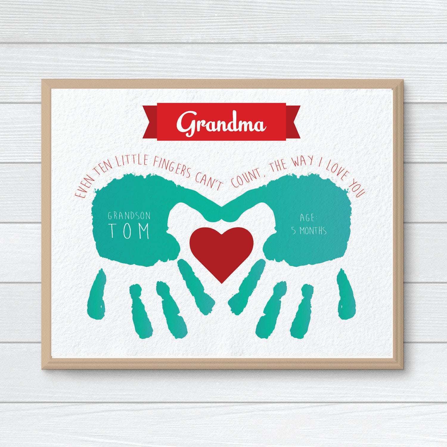 Personalized Gift for Grandmother CUSTOM Handprint Art