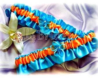 Turquoise and Orange Wedding Bridal Keepsake and Toss Leg Garter Set, Bridal Something Blue