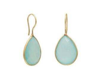 14 Karat Gold Plated Sea Green Chalcedony Gemstone Dangle Earrings