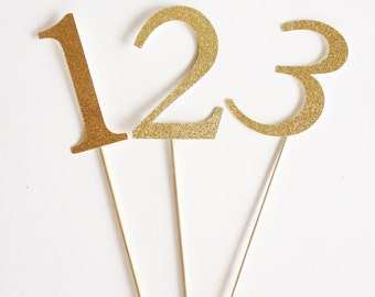 "4"" Gold or Silver Table Numbers for Wedding or Special Event."