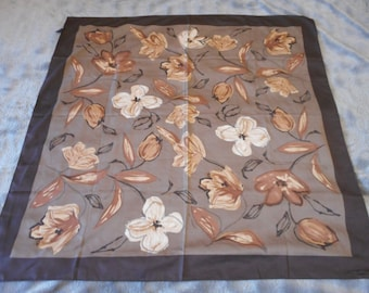 vintage French used head scarf with vibrant flower design