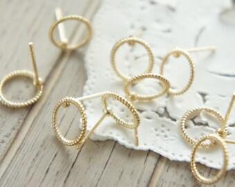 2 pairs Open Back Bezel Earrings / Round (10mm) AZ389