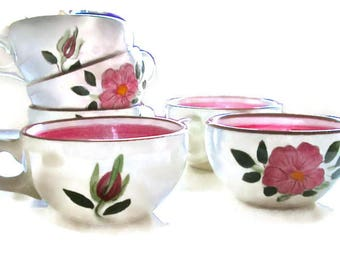 Vintage Stangl Cups (6) Wild Rose Pattern 1950s Flat Cups