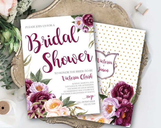 Burgundy Floral Bridal Shower Invitation / Wedding Shower / Watercolor / Purple / Pink / Flowers / Wine / Gray / FLORENCE COLLECTION