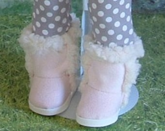 Pink Faux Sherpa Boots