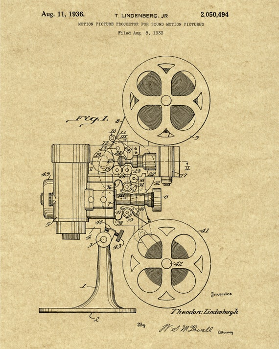 Motion Picture Projector Patent Home Theater Wall Art Movie