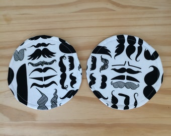 Fabric Coasters, Mustaches, Mustache Coasters, Black and White Coasters, Mustaches Coasters, Fabric Mustache Coasters, Set of Two