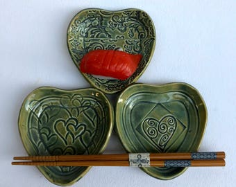 Set of 3 Heart Shaped Dipping dishes, small dishes, sauce dishes, stamped dish, Heart dishes