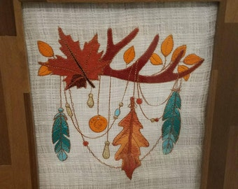 8x10 Framed Machine Embroidered Autumn Leaves With Feathers