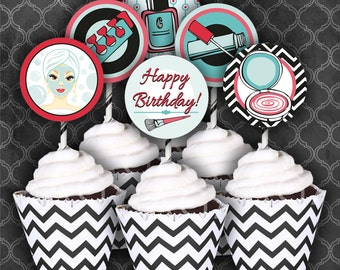 Spa Birthday Party Cupcake Circles/Toppers / Coral/Turquoise  / Instant Download  / Digital File