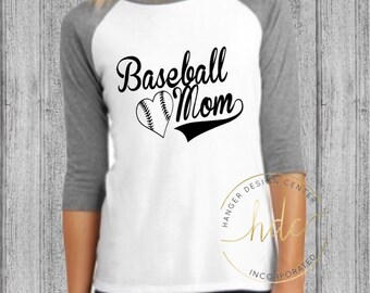 Baseball Mom Shirt/Womens Baseball Tee/Mom Baseball Shirt/Baseball Moms/Womens Baseball Tee/Baseball Mom Tee/Raglan Tee (Black Lettering)