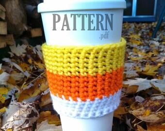 Crochet PDF Pattern ~ Halloween Cup Cozy ~ Coffee Mug Sleeve ~ Candy Corn Crochet ~Mug Warmer ~ Crochet Coffee Cozy