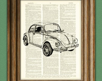 Vintage VW Beetle Bug car beautifully upcycled vintage dictionary page book art print