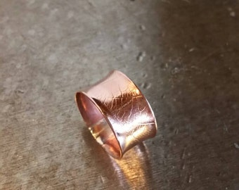 Shiny Copper Leaf Anticlastic Ring