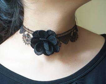 A Fantastic Handmade Needle Lace,igne oya black rose necklace,