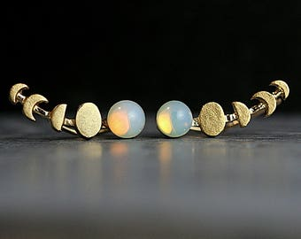 Waxing Moon and genuine vintage opal stone ear climbers. Tiny gold opal stud earrings. Moon phases earrings for her.