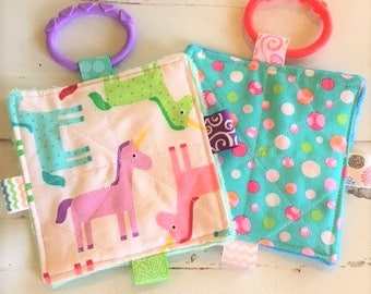 """Baby girl crinkle toys, 5"""" crinkle toy set, unicorns and bubbles crinkle toys, busy mom toys, machine washable"""