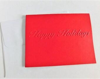 Happy Holidays Greetings Card, embossed Christmas Card, Embossed Greeting card, Blank Christmas Card, Embossed note card