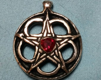 Celtic double sided sterling silver pentagram with ruby and sapphire