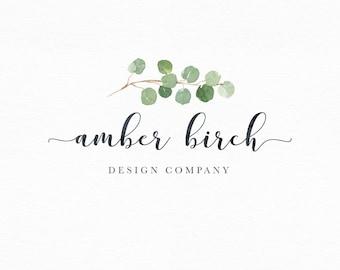 Logo Design, Photography Logo, Premade Logo, Logo For Photography, Business Logo, Watercolor Logo, Branding, Leaf Logo, Calligraphy Logo