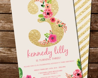 Third Birthday Invitation - Gold Glitter Floral Watercolor Birthday Invitation - Instant Download and Edit at home with Adobe Reader