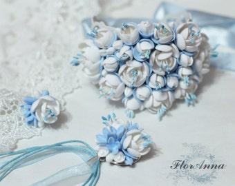 blur bracelet, blue flowers, wedding stuff, bride bracelet, fresia earrings , bridesmaid bracelet, blue flower bracelet, blue flower pendant