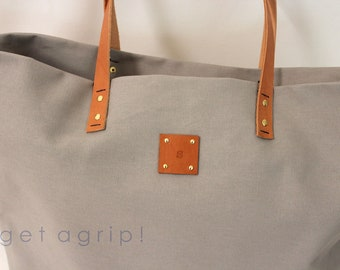 Canvas Tote... SPECIALIZED LABEL... Petite GRAY tote bag