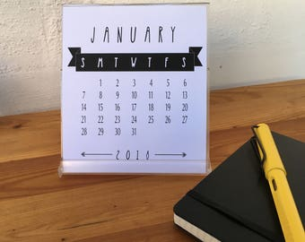 2018 Desk Calendar for CD Jewel Case - Black and White - Printable PDF, Instant Download
