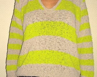 hand- made cotton sweater flashy  neon green/beige size small 38/40