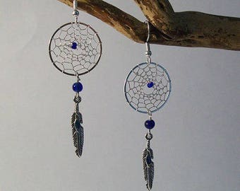 Earrings dream catcher or dream catcher silver and Navy Blue beads