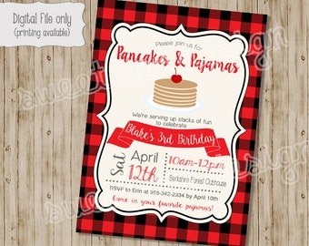 Pancake Birthday Invitation, Pancakes and Pajamas Birthday Invitation, Winter Birthday Party, Pajamas Birthday Invitation, Pajamas, Plaid
