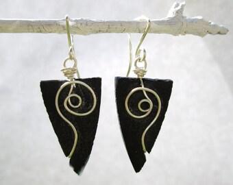 Black seaglass-like triangle earrings