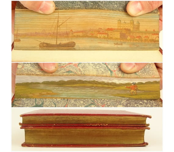 1795 and 1805, two fore-edge paintings, 1805 Merrick's (rhyming) Psalms and the 1795 Economy of Human Life