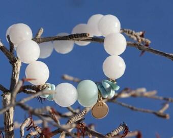 Natural stone Gypsy women bracelet, jade, amazonite, larimar, bracelet, gold plated bracelet bracelet healing bracelet, 323