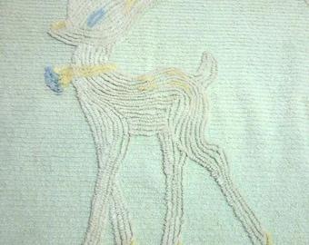 Sweet Little Deer Chenille Baby Crib  Blanket celery green