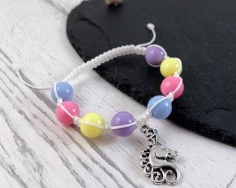 Kids Unicorn Bracelet, Unicorn Charm Bracelet, Kids Charm Bracelet, Unicorn Bracelet, Kids Beaded Bracelet, Unicorn Gift, Kids Gift