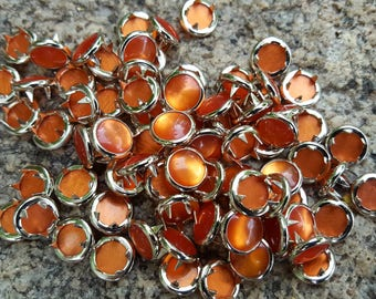Orange Pearl Snaps, Pearl Snap Fasteners, 12 mm Pearl Snaps