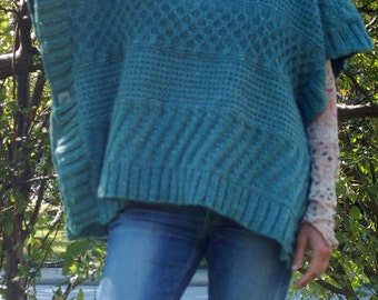 Lexie Poncho, Knitting Pattern, Easy to Knit, Knit Poncho, Textured Poncho, Textured Stitches