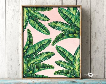 Beverly Hills Martinique Inspiration Wall Art, Tropical Leaves Print, Banana Leaves, Wall Art, Art Decor, Print Poster