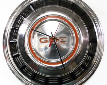 GMC Truck Wall Clock - 1975 - 1988 Pickup Hubcap Clock - 1976 1977 1978 1979 1980 1981 1982 1983 1984 1985 1986 1987
