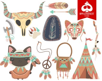 Cat Indian or Native American Version Four Digital Clipart for Personal and Commercial Use