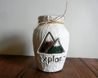 Explore Vase / mountains / white home decor / gift for the traveler / explorer gift