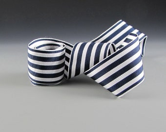 "1.5"" WEDDING NAVY WHITE Ribbon Narrow Stripe Wholesale"