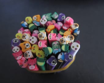 set of 50 characters 5 x 50 mm pattern polymer clay canes