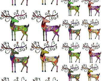 Abstract Christmas Deer - Ceramic Decals- Enamel Decal - Fusible Decal - Glass Fusing Decal ~ Waterslide Decal - 85565