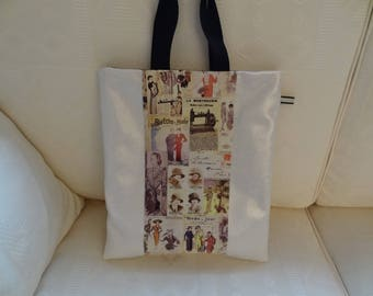 Tote bag / off-white coated canvas and fabric/gold printed Retro / Le petit Écho de fashion / lined in black waterproof canvas / carried on shoulder